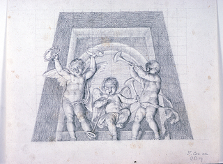 Design for a lunette.  Two standing and one seated putti (in the middle) with musical instruments (trumpets and tambourines), shown against the trapezoidal frame of an oculus.