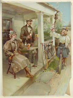 Vertical rectangle. Man and woman wearing cycling attire are on a porch, holding glasses of beer. Tandem bicycle rests against porch rail. Young girl on a bicycle holds a branch of a flowering tree.
