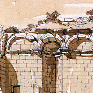 Wall elevation, in ruins.  The lower portion of the wall includes a walled up doorway, two small niches, placed on either side of the doorway, and a half arch above the doorway.  The upper portion of the wall includes a blind arcade with three niches and partially destroyed entablature.  Only three columns are still intact.  On the ground, three male figures are standing to the right of the doorway.  Small plants grow on various parts of the wall.  Broken columns and other architectural pieces stacked on the left hand side.