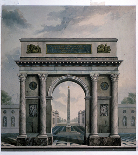 View of a triumphal arch placed on a piazza.  At the foreground stands a triumphal arch with one archway, four columns with Corinthian capitals, two reliefs, and two medallions.  It stands on a marble pavement.  In the middle distance, inscribed by the opening of the triumphal arch stands an obelisk.  Behind the arch and on either side of the obelisk are low, one story buildings with large arched niches and small round niches.  In the facades facing the front, the niches are occupied by figurative statues.