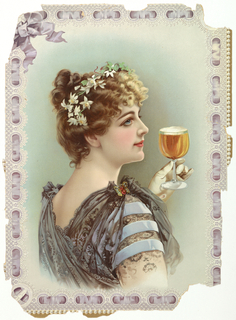 Vertical rectangle. Woman with flowers in her hair and a butterfly pin on the shoulder of her dress, holds a glass of beer. Edges printed and embossed to simulate a violet-covered ribbon.