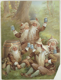 Vertical rectangle. Six smiling bearded gnomes in the grassy woods, holding steins of beer, many raising their steins in the air. Each wears a brown hat with a red feather, brown shirt, pants, shoes, and green stockings. Gnome at left leans against a large wooden barrel. To his left are bowling pins and balls.