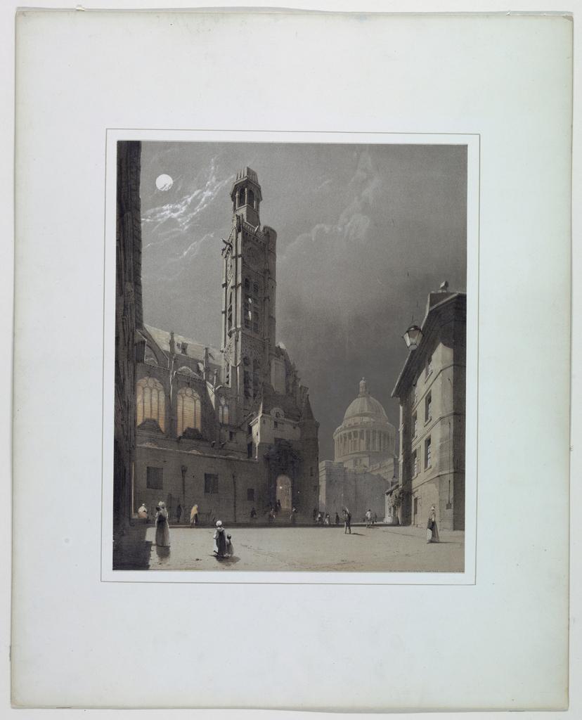 Print, St. Etienne du Mont and the Pantheon, Paris, 1839
