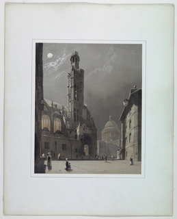 Print, St. Etienne du Mont and the Pantheon, Paris, 1839