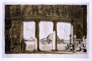 Horizontal rectangle: view from within an antique building in which sculptural monuments are massed, through an opening between two columns toward large domed building.