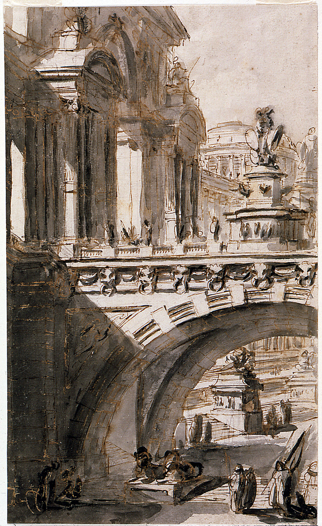 In this architectural fantasy, an arched bridge ornamented with a sculptural monument transitions into a grandiose palace, to the left.  The palace, viewed from an oblique angle, has twin porticos.  In the background, a domed and colonnaded building is visible in the distance.  Through the arch of the bridge appear steps, another monument, and number small-scale figures.