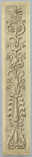 A plant candelabrum with a bow-knot above the middle and with a palmette on top, framed by a moulding. The background is colored.