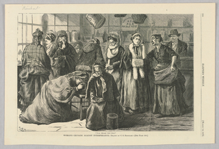 Group of women distraught about intemperance. Some are crying. They appear to be in a bar and are being told to leave.