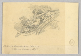A woman is shown in profile turned toward the right, in the act of flying. Different attitudes are sketched.