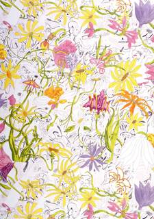 All-over floral and foliate design. Exotic flowers are brightly printed in shades of red, orange, yellow and purple. Interspersed are images of arms and hands severed from the body. Other, smaller-scale imagery inclued cubes and unidentifiable shapes. Printed in 11 colors on white ground.