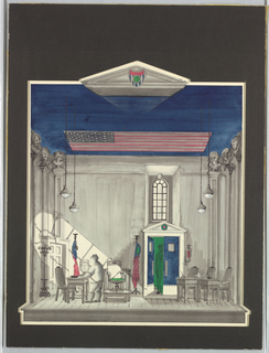 """Drawing, Stage Design: New England State Senate Hearing Room, for """"The Child Buyer"""""""