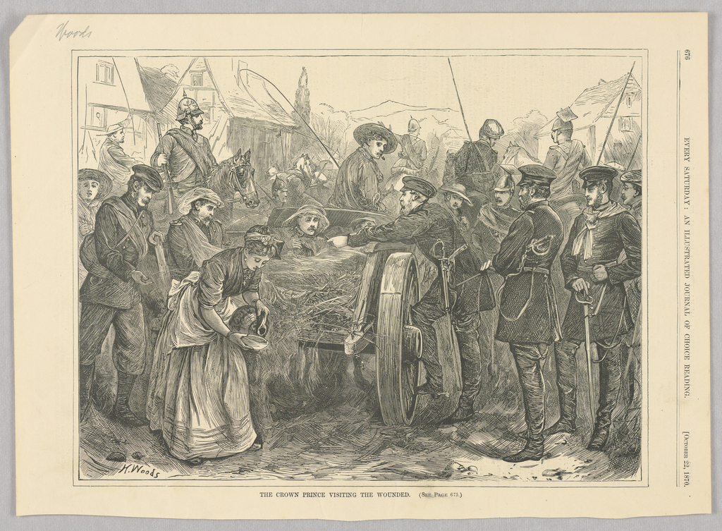 Depicts the crown prince Frederick visiting the wounded during the Franco-Prussian War. Several men in the back are on horses. A cart with a wounded man in the back of it occupies the center of the image. A man leans towards the wounded man, while a woman pours out water for him.