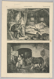 Two illustrations, one above the other. In the top image, four figures are situated in a barn. A man sits with his head in his hands in despair as a woman standing beside him weeps and a young girl reaches towards him as if to comfort him. On the right, a small child plays on the ground. In the back left, a horse lies on the hay-covered ground with its tongue out and eyes empty, appearing very ill. In the bottom image, a man in priest robes holds a book, presumably a bible, in his left hand while casting a spell with his right. Behind him, the family looks on in fear and wonder. They appear to have brought their ailing horse to the priest's house. The horse is standing in the image, bewitched by the priest.