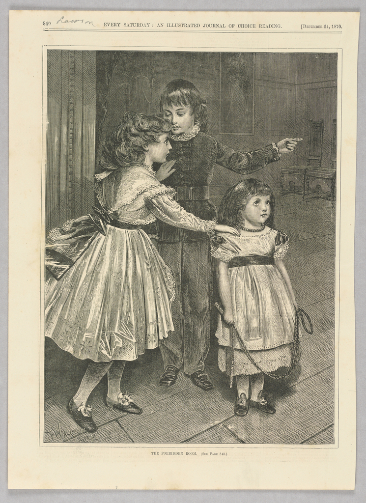 Three children, two girls and a boy, in an interior space. The younger girl on the right holds a rope, while the older girl places one hand on the younger girl's shoulder and one on the chest of the boy. The boy looks towards the older girl and points to the right of the image.