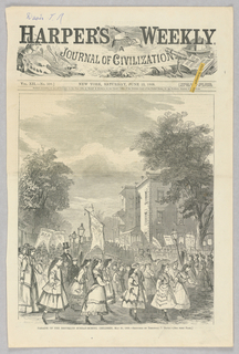 IIllustration of the annual parade of Sunday-school children in Brooklyn to celebrate the anniversary of their Union of the schools in 1829. This parade in 1869 was the 39th anniversary. Children can be seen in the street carrying banners. In the background, more children can be seen crossing a bridge over the street.