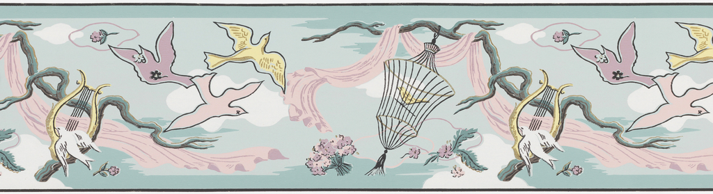 Pink and purple fabric draped from branch, bird in cage, and doves flying, white clouds on blue-green ground.