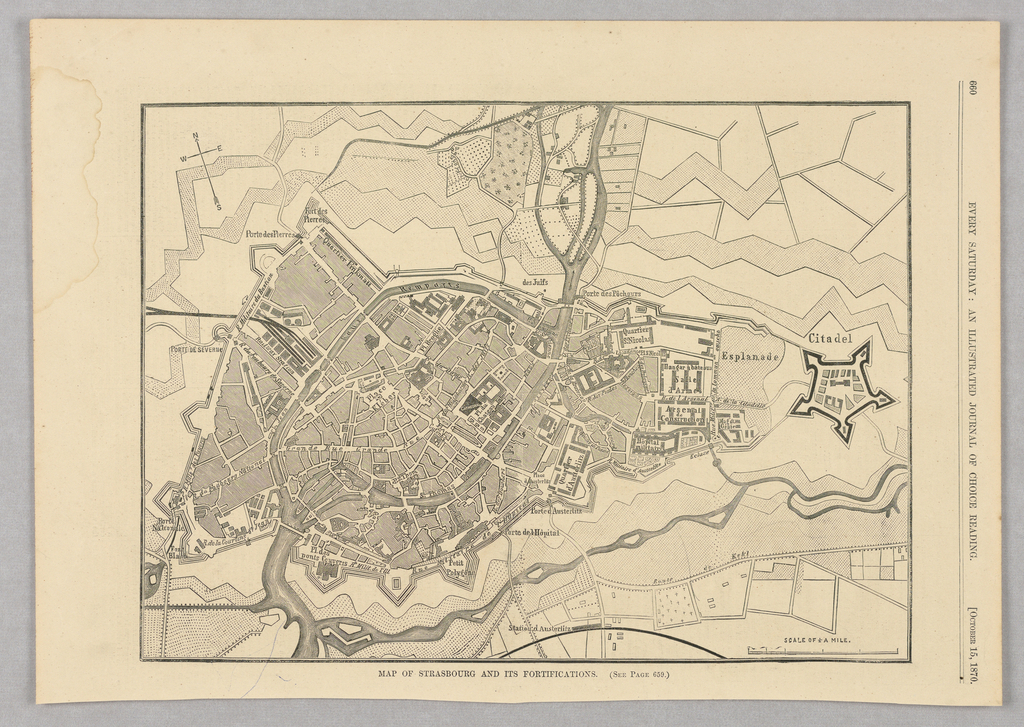 Map of Strasbourg, a town in northeastern France.