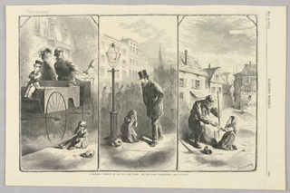 The illustration is split into three panels. On the left, a carriage with three wealthy figures drives by a girl sitting on the ground, weeping over broken pottery, while the figures ignore the girl. In the central panel, a man in a top hat walks by the same scene without attempting to help. On the right, a man with a shovel, presumably a manual laborer, kneels on the ground to hand the girl a coin.