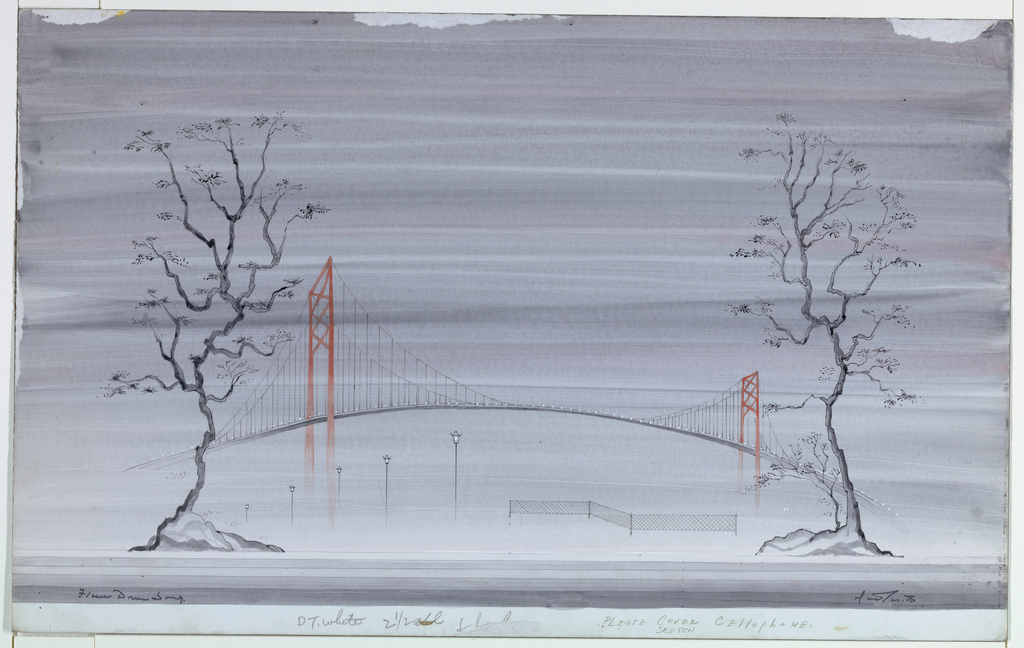 Horizontal rectangle. Two wiry trees mark the banks while a bridge links the two with a light presence, barely detectable in the purple haze covering the entire composition.