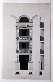 Elevation and section of a wall with theater boxes.  At the center, is the decoration of a section of a wall with boxes (theater seating).  To the right, is a cross section of the same wall.  Decorations have Classical overtones.  The pilasters are decorated with floral motifs and masks of Comedy and Tragedy. Two horizontal panels at the fronts of the boxes depict scenes with figures dressed in Classical outfits.  The panel at the first tier shows the crowning of a herm.  The panel at the second tier depicts the death of Dido.