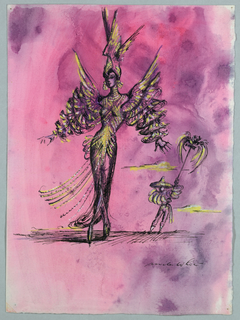 Vertical rectangle. Woman in feathered headdress and fanciful dress with tiered sleeves. Small man carrying standard. Pink background.