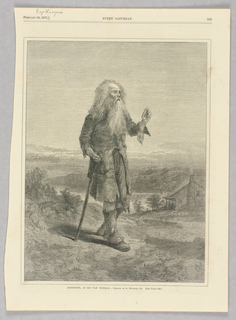 An old man with a walking stick. Landscape in background. Most likely referring to Joseph Jefferson's portrayal of Rip Van Winkle.