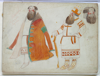 Drawing, Costume Design: No. 29, Two Wealthy Russian Peasants, for Snow Maiden, 1922