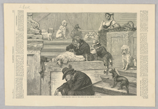 An old woman shaves a white dog on the steps of the Trinita de' Monti beside a child who is looking on. Several dogs stand nearby. In the foreground, a man rests on the stairs with his head down, propped on his hand. In the background, a woman stands with her arm through the handle of a basket.