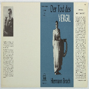 On blue ground, a robed ancient figure holding a scroll in one hand and a laurel wreath in the other. Text in black and white, upper margin: Der Tod des / VERGIL; lower margin: Hermann Broch. On spine: HERMANN BROCH / Der Tod / des / VERGIL.