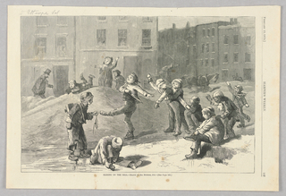 Group of children playing in the snow. Some slide down a small hill of snow while some throw snowballs and others skate.