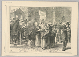 Image of the poor in Paris lined up to get soup. They hold up containers for the soup.