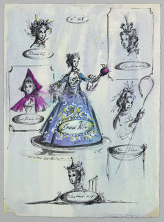 Vertical rectangle. Snow White—in a full, elaborately decorate gown—surrounded by Beauty, Red Riding Hood, Cinderella, BoPeep, and Bluehead's Wife. Beauty adorned with flowers in her hair; Cinderella in a crown; Red Riding Hood in a magenta hood; Bo Peep with bows; and Bluehead's Wife with head ornamentation.