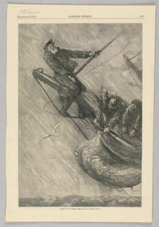 Sailors cling to the bowsprit of a ship during a storm.