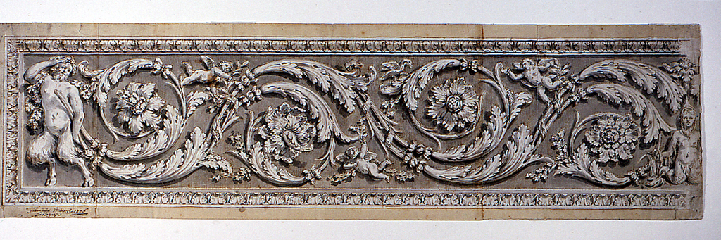 Design for an ornamental panel.  Horizontal design with Acanthus rinceau/scrolls, the stem being held by a satyr, situated at the left side of the sheet. The pattern terminates at right with a scroll, touched by a female figure with fishtail legs and a plant sprouting from her head.  Intended to be the center of the entire frieze.  Three putti and a bird placed in the areas free of the Acanthus motif.  Framed on all sides.  Signed at the lower left corner.