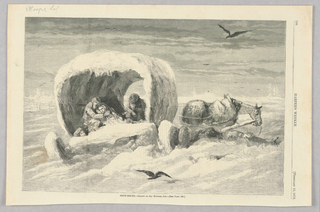 Covered wagon in a very snowy landscape. The wagon, horse, and wheels are all covered in snow.  Figures huddle inside the wagon. To the right of the wagon, a person's face and hand can be seen emerging from the snow.
