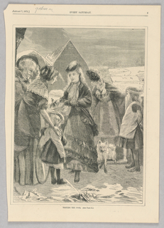 A woman hands a basket of food to another woman with a small child beside her and an older woman behind. In the background, another woman places her hand on the head of a child.