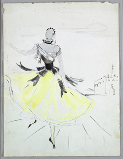Female figure in yellow full skirt, black and white draped bodice with peplum. Left foot on point, right arm extended.