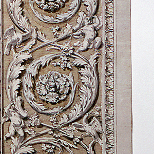 Design for an ornamental panel, with vertical orientation.  Above the vase with a sphinx and two griffins, which is located at the bottom of the composition, is a nest of acanthus leaves; springing from it are two rinceaux/scrolls, nearly symmetrically winding up.  The rosettes, terminating the scrolls, have all been replaced by the artist, by pieces of paper pasted over.  Three putti and three birds are placed along the scrolls.  The acanthus scrolls are framed on all sides, except the top edge, by a decorative molding.  Signed at lower left corner.