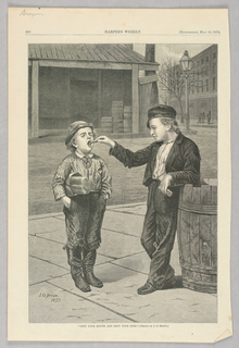 Two boys stand on the sidewalk. One boy has his eyes closed and the other is placing something in his mouth.