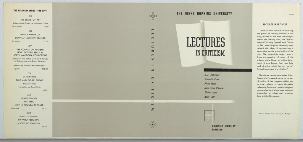 Book Cover, Lectures in Criticism by R. P. Blackmur, Benedetto Croce, Henry Peyre, John Crowe Ransom, Herbert Read, Allen Tate