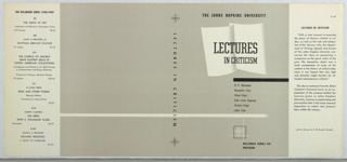 On grey ground, black text: LECTURES / IN CRITICISM, on an image of two sheets of white paper; at center: R. P. Blackmur / Benedetto Croce / Henry Peyre / John Crowe Ransom / Herbert Read / Allen Tate. Lower margin: BOLLINGEN SERIES XVI / PANTHEON. On spine: LECTURES IN CRITICISM.