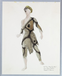 Standing figure with eye patch and turban. Costume with long tunic over leggings, and one shoulder exposed.