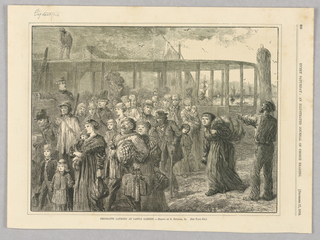 Emigrants arriving at Castle Garden, where emigrants used to arrive in New York before Ellis Island. Castle Garden was originally a fort later turned into New York's original immigrant processing station. Ships can be seen in the background of the image. The new arrivals carry their belongings and are pointed along by a uniformed man.