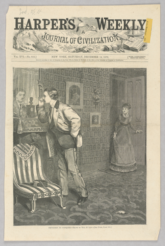 On the left, a man checks his face in a mirror. On the right, a woman stands in an open doorway, holding the doorknob.