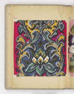 Sample book with paper leaves bound in grey cloth covers. Pages number 1-249; on sixty-nine pages are samples of silk ribbons. On three pages are watercolor design for ribbons.