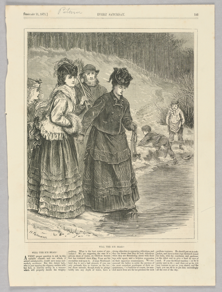 Figures on the bank of a frozen body of water. In the foreground, a woman tests the ice with her foot. In the background, a child scrambles from the water, his foot having broken through the ice.