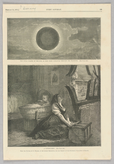 The top image shows a solar eclipse. The bottom shows a woman sitting with her eyes closed and hands clasped in front of a wall that has been broken by a cannon. Behind her is a baby in a bassinet.