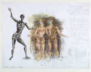 Horizontal rectangle. At left, masked skeleton figure. Center, woman and man in gold leotards each with an arm around the other's waist. Upper right, costume notes inscribed in pencil. Lower right, two heads drawn in pencil.