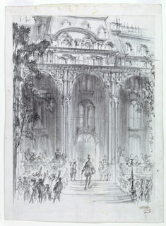 Architectural facade with columns, and trees framing either side. A figure with a top hat and cane on the steps, center, with additional figures at either side.