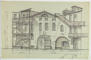 Horizontal rectangle. Ramshacklehouse with two arches center; exterior stairs at left, balconies at right, scale left and at bottom.